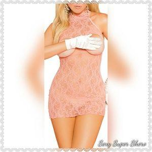 Sexy SuperShero Intimates & Sleepwear - 🆕Cupless Halter Lace Coral Sexy Mini Dress